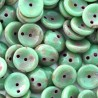 Mărgele presate Piggy 4x8mm T63120 opaque turquoise green Picasso