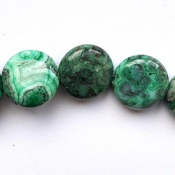 Crazy lace agate green 18mm puffed flat round