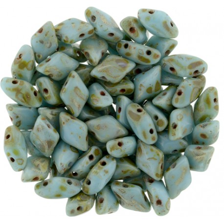 Mărgele GemDuo 8x5mm. T63030 blue turquoise Picasso